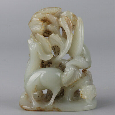 Chinese Exquisite Hand-carved deer Crane Carving Hetian jade statue