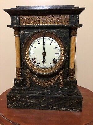 Antique Ansonia Victorian Black  Marble & Pillars Mantel Clock 1880's