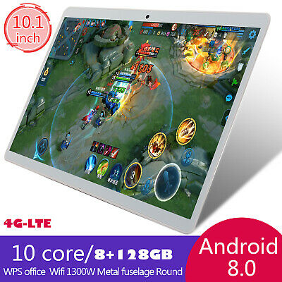 New 10.1 Inch 4G-LTE Android 8.0 Tablet 8+128GB Phablet  Dual Card Phone Call PC