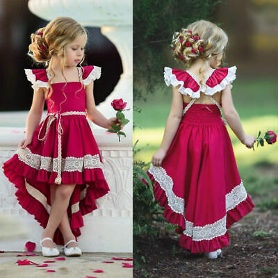 Vintage Kids Baby Girls Ruffle Dress Princess Holiday Long Xmas Dresses Sundress