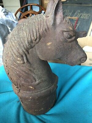 Rare Antique Cast Iron Horse Head Hitching Post Top New England