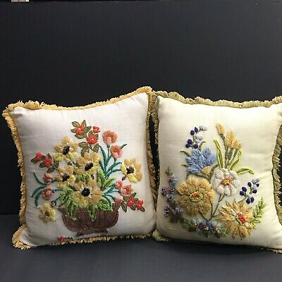 Vintage Pillows Crewel Embroidery Floral Flowers Square 2
