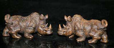 "4.4"" Old China Boxwood Wood Hand Carved Animal Rhinoceros Bull Oxen Statue Pair"
