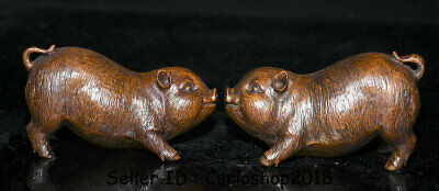 "4.8"" Old China Boxwood Wood Carved Feng Shui Animal Pig Wealth Lucky Statue Pair"