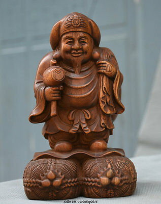 "7""Old Chinese Boxwood Wood Carved Mammon Money Wealth God Hold Hammer Statue"