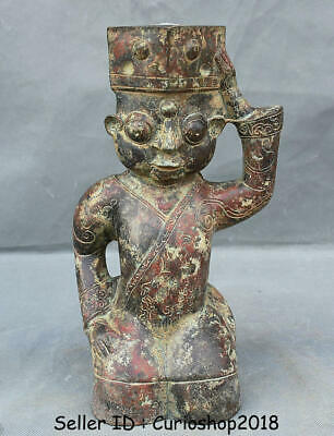 "10.4"" Old Chinese Ancient Bronze Ware Dynasty Kneel People Statue Sculpture"