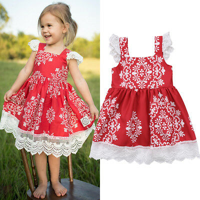 AU Princess Kids Baby Girl Dress Lace Floral Party Dress Xmas Dresses Sundress