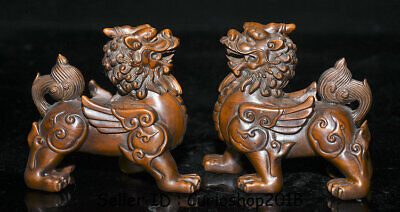 "3.8""Old China Boxwood Wood Carved Feng Shui Pixiu Beast Wealth Lucky Statue Pair"