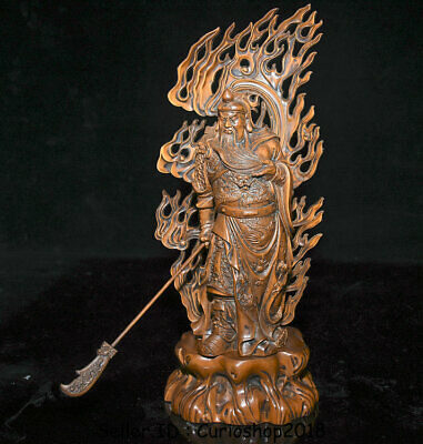 "10.8"" Old Chinese Boxwood Guan Gong Yu Warrior God Dragon Robe Daikatana Statue"
