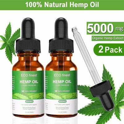 2 Pack 5000mg Organic Hemp Oil Extract For Unisex Pain Relief Reduce Stress aa