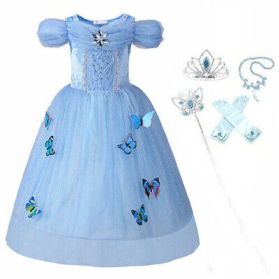 Kids Cinderella Costume Sandy Princess Outfit Girls Party Gown Fancy Long Dress