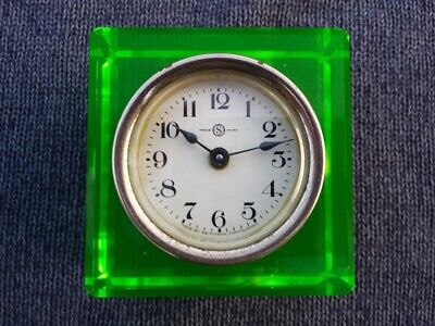 1930 SEIKOSHA Seiko Uranium Glass Clock WORKS Perfect Dial & Case IMPERIAL JAPAN