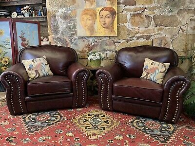 Pair of Vintage Leather Chesterfield Tub Chair~Armchair~Burgundy~Lounge