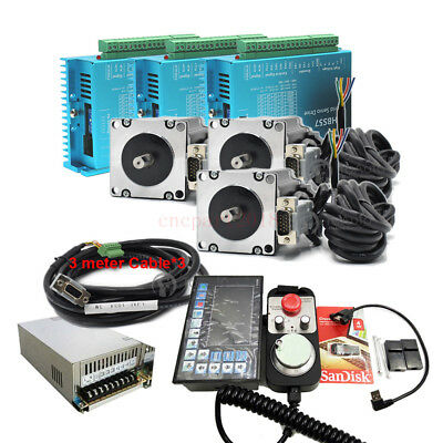 4Axis 3NM Closed Loop Stepper Drive Kit Nema23+CNC Controller+DC Power+Handwheel