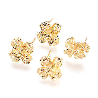 8pcs Brass Bumpy Flower Earring Posts Back Loop Gold Plated Stud Findings 12.5mm