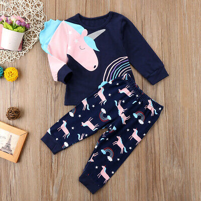 Toddler Kids Baby Girls Unicorn T-Shirt Tops Long Pants Clothes Outfit Tracksuit