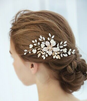 Gold Floral Crystal Hair Clip Bridal Hair Piece  Bridal Headpiece Hair Comb