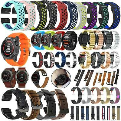For Garmin Fenix 6X Pro Solar Quickfit Leather Nylon Silicone Watch Band Strap