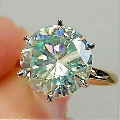 14K Yellow Gold Fn 3.50Ct Round-Cut Moissanite Solitaire Promise Engagement Ring