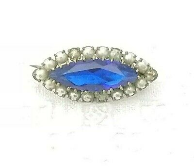 Antique Victorian Edwardian Sapphire Blue Paste & Seed Pearl Lace Pin Brooch Old
