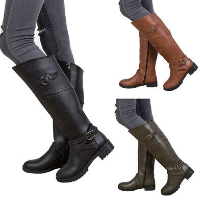 Womens Knee High Flat Boots Ladies Mid Calf Zip Buckle Riding Boots Shoes Size