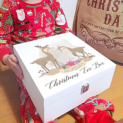 Personalised Colour Printed White Christmas Eve Box - Watercolour Deer Design