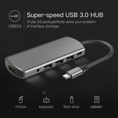 6 in 1 USB-C Type C HD Output 4K HDMI USB 3.0 Adapter HUB For MacBook Pro Laptop