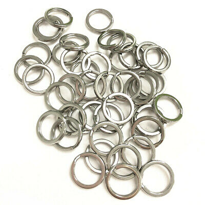 10-1000pcs Stainless Steel 15mm Keyring Blanks Split Rings Silver Keychain Links