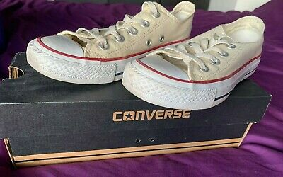 Cream Converse All Star Trainers Size 3 in Box Used Great Condition