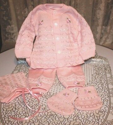 SWEET Fine Delicate Knit Baby Doll Outfit w/Rosebuds For Reborn PINK