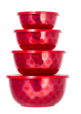 Microwaveable Stainless Steel Mixing Bowl Red - CASE OF 12