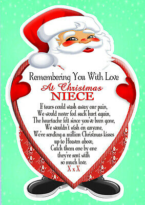 Christmas Memorial Niece  Rememberance Graveside Card & Holder 1