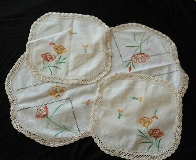 Embroidered poppies duchess set doilies with crocheted edge