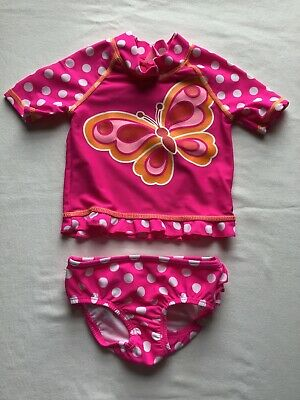 Girls Age 18 Months Swim Set Pink Spots And Butterfly Design