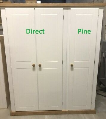 Shaftesbury Range Triple Full Hanging Wardrobe White/Antique Pine No Flat Packs