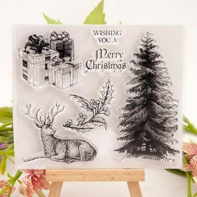 Christmas Tree Deer Silicone Clear Seal Stamp DIY Scrapbooking Album Card Decor