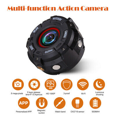 Wifi Full HD 1080P Bike Action Camera DVR Cam 8MP 153 Degree W/ Watch Band Black