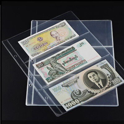 JN_ 10x Note Banknotes Currency 3-Pocket Holder Page Album Paper Money Sleeve