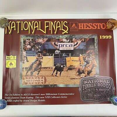 "Vtg 1999 NFR National Finals Rodeo Las Vegas PRCA Hesston 26x20"" VGC"