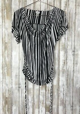 CACHE Drape Neck Black & White Stripe Dolman Sleeve Top Ruched Sides XS RARE