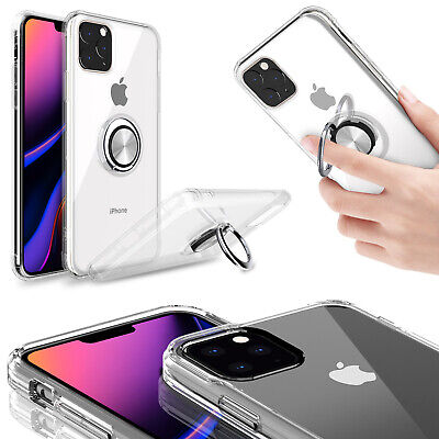 For iPhone 11 Pro Max Ultra Slim Clear TPU Case Cover With Ring Holder Kicktand