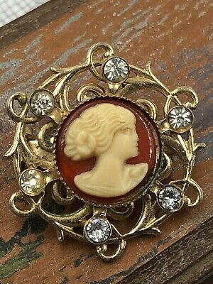 "Adorable Miniature Vintage Cameo Brooch Pin Rhinestones Goldplate 1"" Diameter"