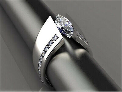 Fashion Women Men 925 Silver Marquise Cut White Topaz Ring Wedding Jewelry Gift