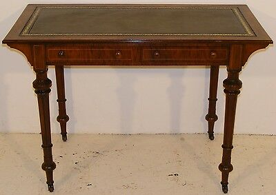 Good Quality Antique Walnut And Inlaid Writing Table Desk