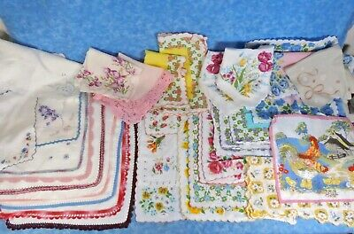 75+ Lot Vtg. Ladies Hankies Handkerchiefs- Florals, Embroidery, Christmas, Etc