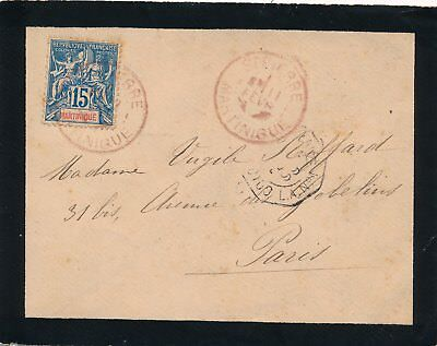 Lettre Martinique Rouge ST Pierre Colonies Maritime Cover French