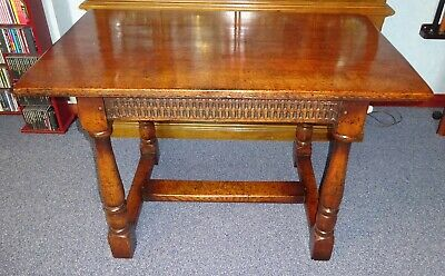 18th or 19th CENTURY REFECTORY OAK TABLE WITH CHURCH SYMBOL FOR CHRISTIANITY
