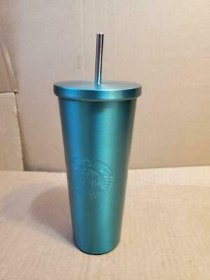 STARBUCKS 2015 GREEN STAINLESS STEEL COLD CUP TUMBLER 24oz W/STEEL STRAW ((