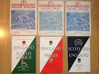 7 Vintage 1940's And 50's International Rugby Union Programmes & Memorabilia