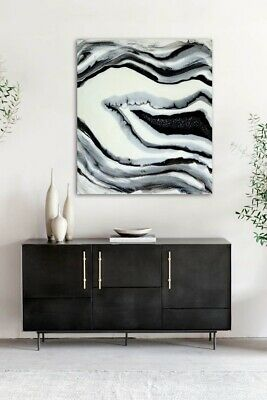 Original Black White Geode Epoxy Resin Abstract High Gloss Wall Art Painting